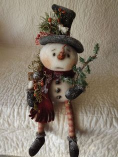 *SNOWMAN ~ Primitive 1882, Doll Made by Patti's Ratties