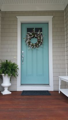 Drizzle By Sherwin Williams Love This Front Door Color Aqua Doors