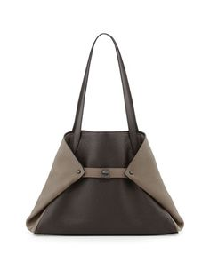 Ai Small Bicolor Leather Shoulder Tote Bag, Dark Brown by Akris at Bergdorf Goodman.