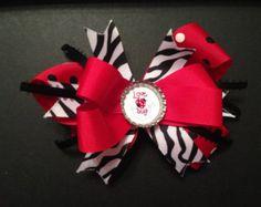 Valentine Hair Bow Love Bug Heart Love Alligator Clip Ready to Ship