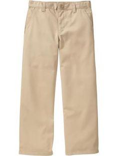 Boys Plain Front Uniform Khakis - Take the stress out of looking his best! Slant pockets in front and button-through welt pockets in back. Easy through thigh, with a slight taper below the knee.