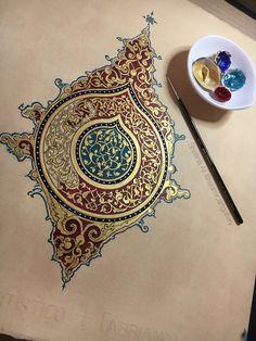 Il-Khanid motif Il-Khanid motif Hand painted by Shafina Ali<br> Arabic Calligraphy Art, Arabic Art, Calligraphy Alphabet, Islamic Art Pattern, Pattern Art, Mandala Art, Mandala Drawing, Ant Drawing, Art Arabe