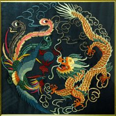 Chinese Silk Robes | CHINESE DRAGON PHOENIX FRAMED SILK EMBROIDERY Wall Art for sale