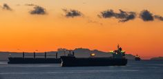 ocean freighters at sunset in the bay - Beautiful sunset in Vancouver's English Bay where freighters frequently anchor. Cityscapes, Beautiful Sunset, Shadow Box, Vancouver, Anchor, Opera House, Ocean, English, Building