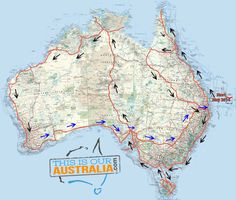 This is the map of our roadtrip in our caravan around Australia. We are leaving in May 2014 with 2 kids, for 2 years. This is the map of our roadtrip in our caravan around Australia. We are leaving in May 2014 with 2 kids, for 2 years. Caravan, Roadtrip Australia, Australia Visa, Brisbane Australia, Coast Australia, Road Trip Map, Road Trips, Australian Road Trip, Cities