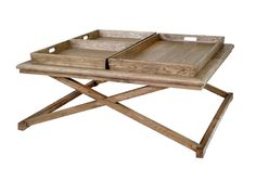 Weathered oak square coffee table with removable oak trays