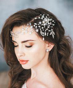 Ivory Bridal Hair Vine, Bridal Headpiece, Crystal and Pearl Wedding Hairpiece, Wedding hair vine, Wreath, Bridal Hair Halo, Leaf beads,Tiara by AnnaHandwelleryAccs on Etsy