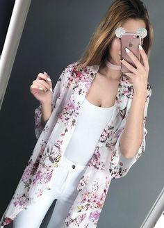 Pretty Olivia Viktoria is ready for spring in her white floral chiffon kimono. #LBSDaily