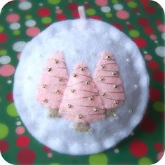 Ready to Ship - Holiday Forest Pink on White - Felt Christmas Ornament