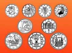 抽象的なユーロの硬貨と通貨ベクトル