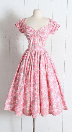 Vintage 1950s Dress vintage 50s Jerry Gilden pink rose print