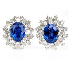 Harry Winston 30 Carat Sapphire Earrings, Harry Winston Sapphire and Diamond Earrings, 30 Cara...