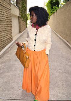 Oversize Knitted Cardigan + Orange Maxi Skirt