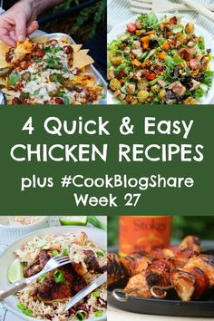 Busy days call for simple recipes the family will love. These 4 Quick and Easy Chicken Recipes are perfect for when time is short, but you still want to eat well. Plus find the linky for Week Lunch Box Recipes, Entree Recipes, Easy Dinner Recipes, Simple Recipes, Easy Meals, Healthy Recipes, Healthy Meals, Healthy Food, Midweek Meals
