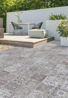 backyard design – Gardening Tips Garden Tiles, Patio Tiles, Garden Floor, Concrete Patio, Terrace Design, Garden Design, Dream Garden, Home And Garden, Three Birds Renovations