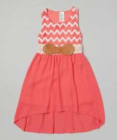 Coral Zigzag Belted Dress from Just Kids