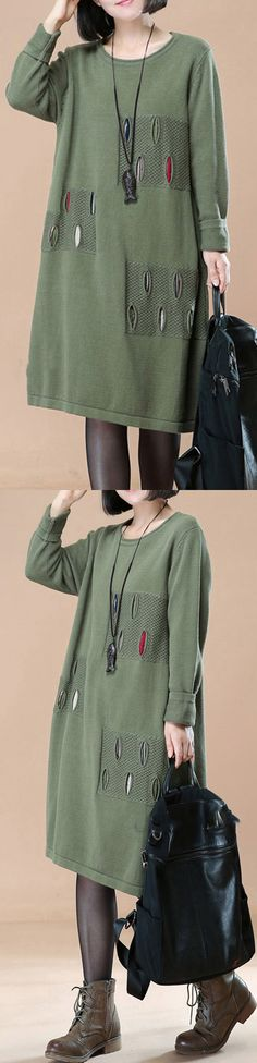 green split knit dress trendy plus size long knit sweaters women patchwork pullover sweater #knit#sweaterdress#sweaterdress#omychic