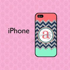 Coral Mint iPhone 5C Case , Personalized iPhone 4 Case , iPhone 5 Case , Chevron iPhone Case , iPhone 5S Case ( NOT REAL GLITTER ) on Etsy, $15.99