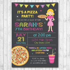 Pizza Birthday Invitation Pizza Invite Pizza by funkymushrooms