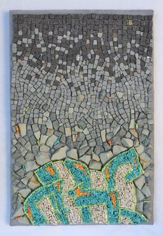 """Punctuated Equilibrium I"" (2013) by Julie Sperling [smalti, stone, skateboard -- 12"" x 18""] #mosaic"
