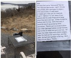 Future father-in-law tired of kids littering up his favorite spot. Left a garbage bag and note. Hasn't been litter in weeks! Funny Meme Pictures, Funny Images, Funny Sites, Great Memes, Bored At Work, Its Nice That, Cute Cats And Dogs, Daily Funny, Brighten Your Day