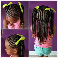 awesome Cornrows in ponytails| Little girl protective hairstyle...