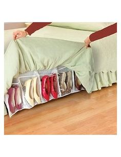 Shoe organization - under bedskirt, holds 16 pairs of shoes.