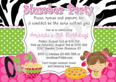 Slumber Party birthday Invitation invite Sleepover by jcbabycakes