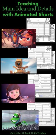 Free Printables to Use with Animated Shorts (Main Idea and Details)