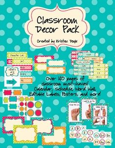 Jackpot!  Everything I could possibly ever need for only $12.50     Classroom Decor Pack (Editable) - Turquoise Dots Theme