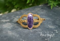 Macrame Bracelet Amethyst, Macrame jewelry, Bohemian Tribal bijoux, Bracelet for women, Amethyst gemstone, Casual gem stone bracelet