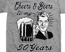 Retro Man 50th Birthday Shirt Gift For Fifty Year Old Cheers And Beers To My 50 Years Old T-shirt B-Day Present Custom Tee Any Age BD-049
