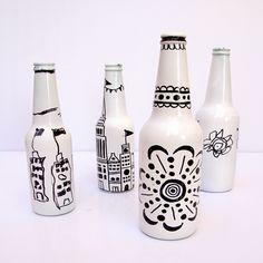 en botellas de cerveza con marcadores idea para nati
