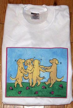 Golden Retriever Ring around the rosies T shirt by JennysDogArt, $15.00