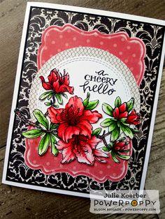 Power Poppy Azalea stamp set, card design by Julie Koerber