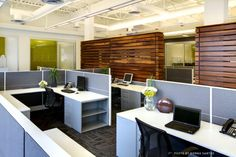 main open office area with feature slat wood wall...beautiful open ceiling