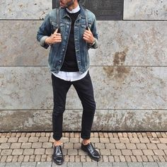 #denim jacket and black sweater by @karlo_lewis  [ http://ift.tt/1f8LY65 ]