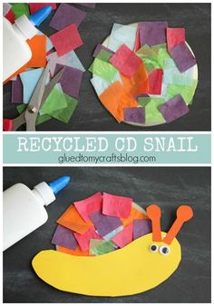 Recycled CD Snail Kid Craft Idea - Perfect for Earth Day Celebrations!