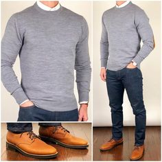 Chris Mehan ( chrismehan ) - Sweater Weather 🌬🌨❄️ Keep it bundled up in warm layers❗️🔥🔥🔥 Do you like this outfit❓ Sweater and oxford shirt: Boots: Grizzly Wheat President Stylish Mens Outfits, Mens Sweater Outfits, Business Casual Outfits, Mens Fashion Suits, Mens Clothing Styles, Trendy Clothing, Clothing Ideas, Sweater Weather, Men Dress