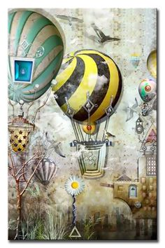 Memo Boards, City Pages, Walk The Earth, Hot Air Balloon, Boy Room, Folk Art, Stained Glass, Objects, Fantasy