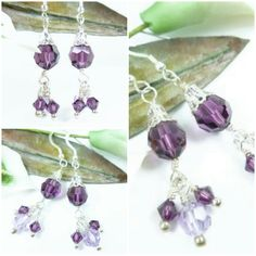 Sparkly and elegant Swarovski Amethyst crystal and sterling beaded dangle earrings.  Ecrater shop link: http://beadsouk.ecrater.com/p/23469577/amethyst-purple-swarovski-faceted-crystal #jewelry #cpromo #giftsforher