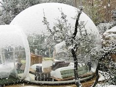 Sleeping in a snow globe, This is actually a hotel.
