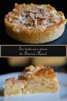 Aujourd'hui c'est une recette de famille que je partage avec vous: la tarte aux poires de ma grand-mère maternelle, Mamie Maud. Une tarte un peu particulière parce qu'elle contient peu de pâte, beaucoup de poires (fraîches), une crème riche en beurre et en sucre et une cuisson Pie Recipes, Sweet Recipes, Dessert Recipes, Sweet Desserts, Delicious Desserts, Bolo Fit, French Patisserie, Quiche, No Sugar Foods