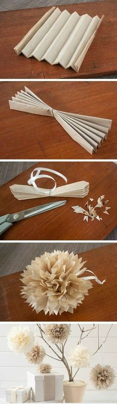 DIY Paper Flower Ball -- Spray paint some branches from yard off white and pot with river rock for dirt. Attach paper flowers for shabby chic look! Paper Flower Ball, Paper Flowers Diy, Flower Crafts, Diy Paper, Paper Art, Paper Crafts, Tissue Paper, Tissue Poms, Crepe Paper