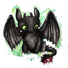 Toothless Watercolor Art Print by FerntasticArt | Society6
