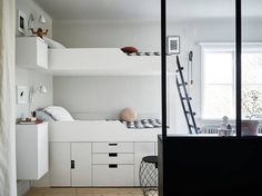 Build a loft bed yourself with Ikea furniture – designs of beds with storage space – Kids Room 2020 Bed Storage, Storage Spaces, Ikea Furniture, Furniture Design, Ikea Stuva, Modern Bunk Beds, Deco Design, Minimalist Bedroom, Kid Beds