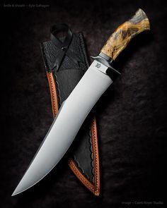 "Kyle Gahagan ~ Bowie Triptych. Blade length: 13"". 5160 steel. Checkered buckeye burl handle. Amazing blade."