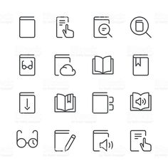 Literature And Ereading Icons Set 1 Black Line Series Illustration , Free Vector Art, Image Now, Being Used, Illustration, Literature, Reading, Royalty, Black, Charts