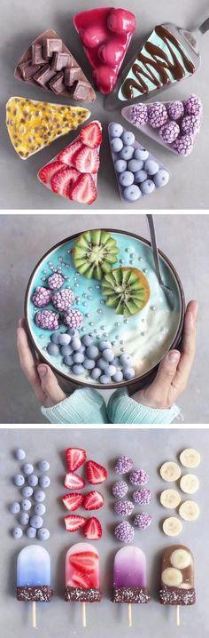 Vegan food art // rainbow food // smoothie bowls // colorful food