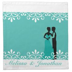 White Swirls, Bride and Groom Teal Elegant Wedding Cloth Napkins